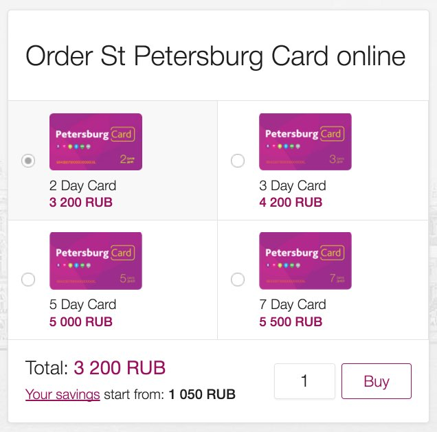 St Petersburg Card Online